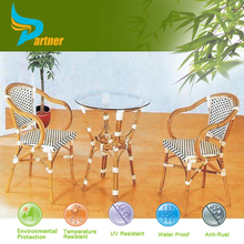 PTN-E-121406 Commercial for Restaurant bamboo look outdoor chair nylon mesh chair