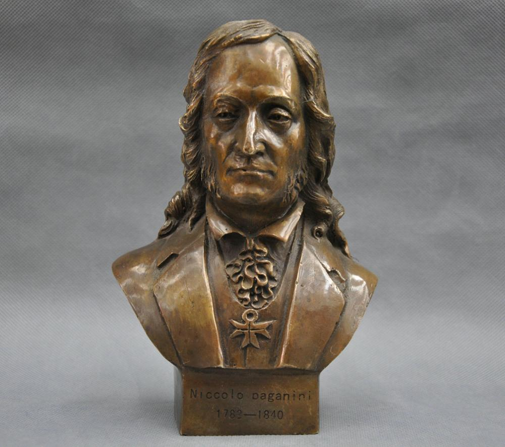 SS 8' <font><b>Italian</b></font> Great Musician Niccolo Paganini Bust Bronze Statue