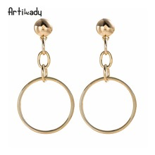 Artilady jewelry manufacturer gold long circle stud earrings for women