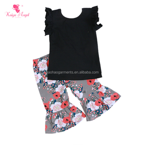 2018 Wholesale Baby Girls Boutique Clothing Outfits Children Black Top Printed Capri Ruffle Sets