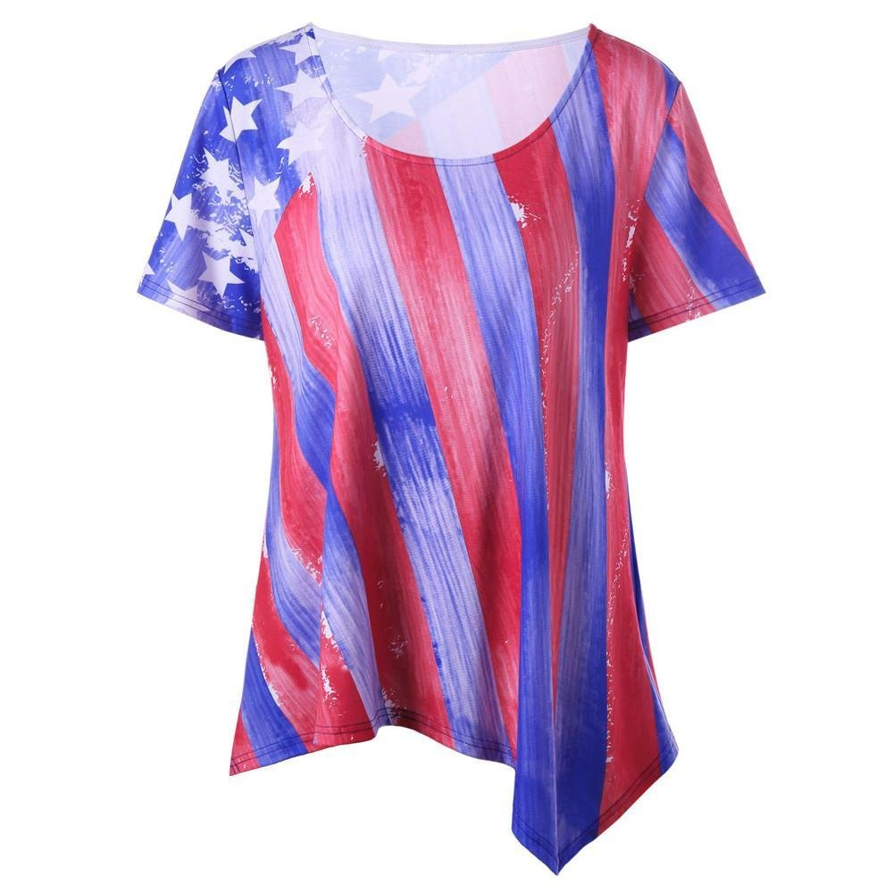American Flag Tank Tops For Women,(XL-5XL) National Patriotic Loose Fit Short Sleeve Tunic T-Shirt Print Vest Irregular Blouse For Woomen Vintage Casual Plus Size (XL, Blue & Red)