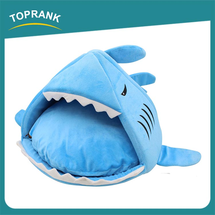 Cute shark animal shape dog beds, plush animal shaped pet bed
