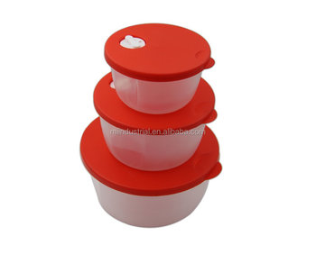 Set Of 3 Round Plastic Food Storage Container With Easy Open Air