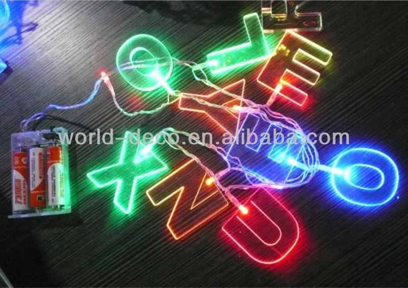 Xmas Decoration Battery Acrylic Led Light Letter String Lights ...