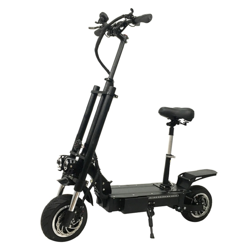 11inch Easy Rider Big Wheel Fat Tire Dual Motors 5600W Pedal Kick Push Electric Scooter for Adults, Black