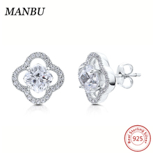 925 Sterling Silver Cushion CZ Halo Stud Earrings jewelry E501