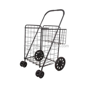 American market household shopping cart trolly metal trolly with mini basket two basket trolly cart
