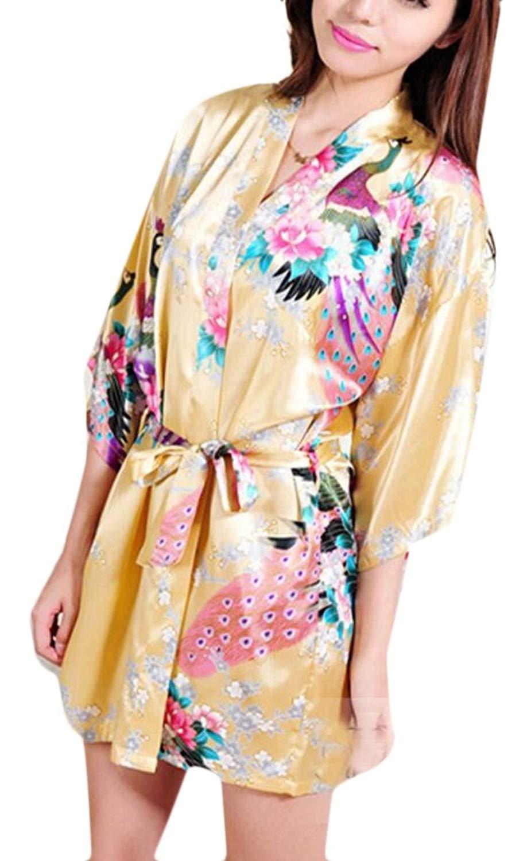 0a547231b3 Get Quotations · WSPLYSPJY Women s Satin Short Kimono Robe Bathrobe  Sleepwear Bathrobe with Belt Yellow XS