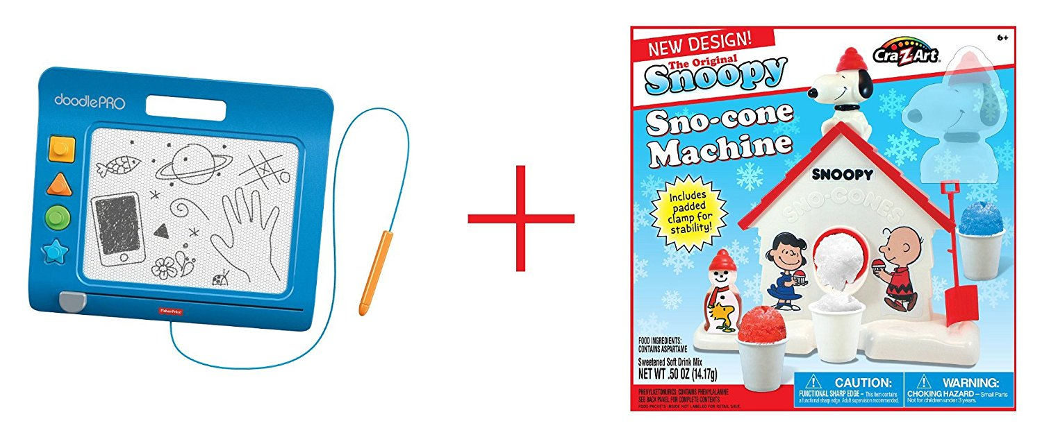 Fisher-Price DoodlePro Slim - Blue and Cra-Z-Art Original Snoopy Sno-cone Machine - Bundle