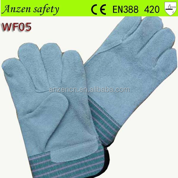 china supplier mens gray cow split leather welding gloves