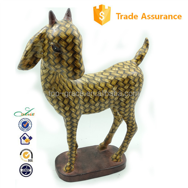 2015 home floor decoration cane finish resin goat statue