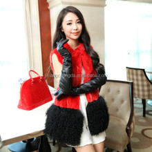 woman real mink fur long vest with mongolian lamb fur trim gilet