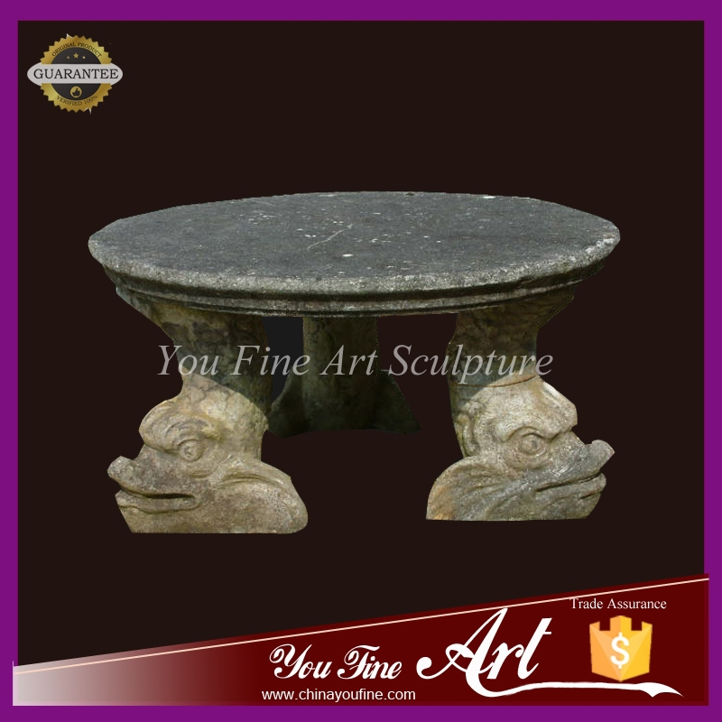 Garden decoration antique carved stone table with animal