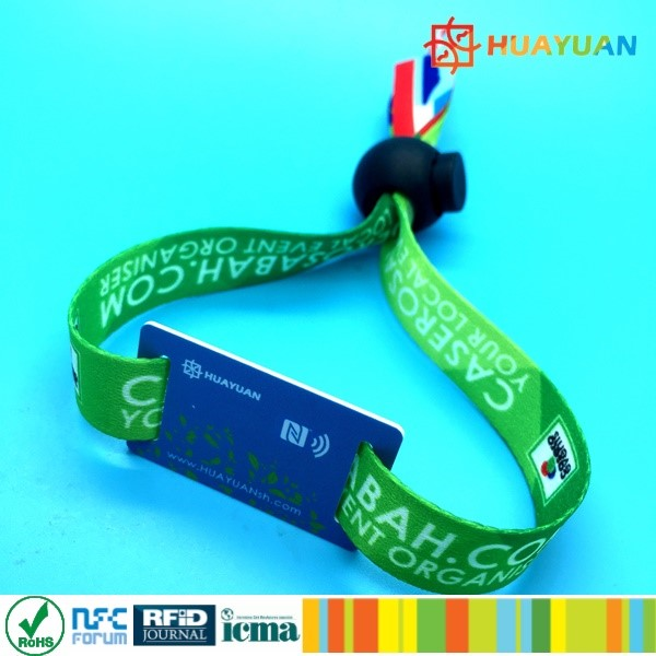 Festival Ticket Contactless MIFARE Classic 1K Fabric Woven RFID Wristband