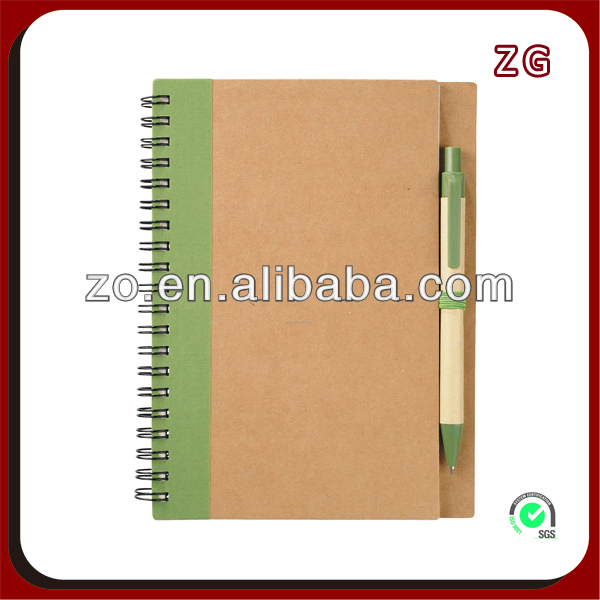 custom kraft spiral hardcover notebook with pen