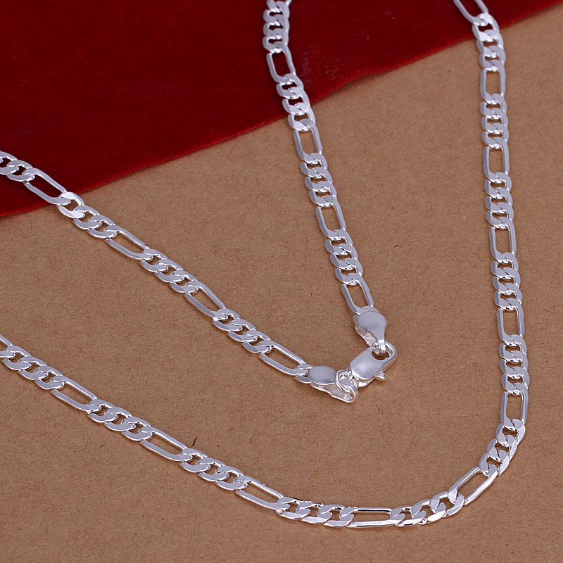 Free Shipping Newest silver plated fashion necklaces for women 2015 4MM 16 30 Chains collares summer
