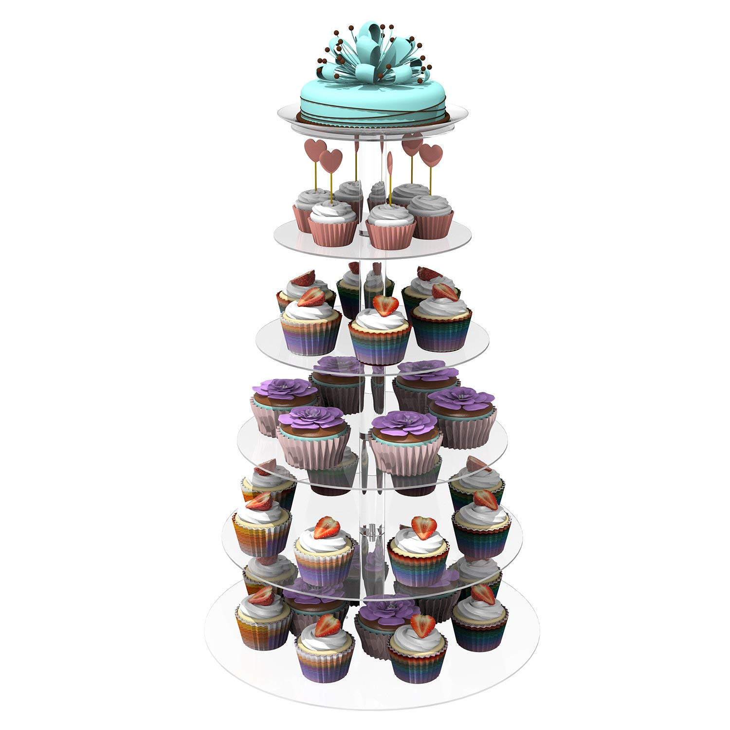 shaofu 6 Tier Round Cupcake Stand, Wedding Party Acrylic Cake Dessert Tower, Food Display Stand (6 Tiers, Clear)
