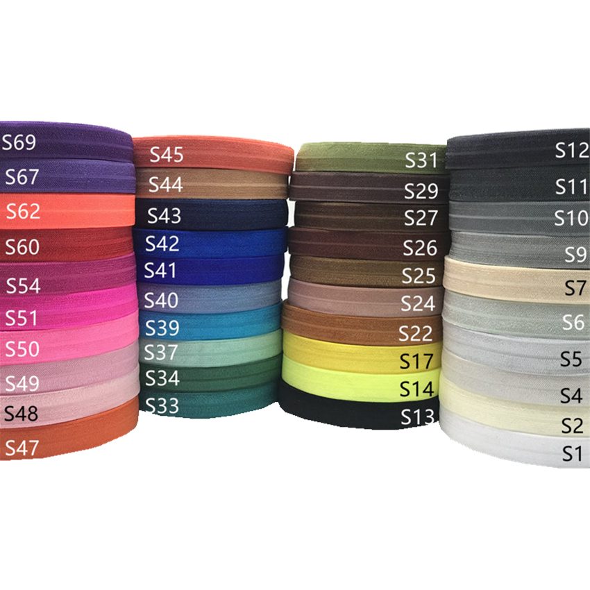 Good Quality 16mm Plain Fold Over Elastic Ribbon Wholesale Solid FOE Elastic Webbing for Hair Accessories 100 yards/lot, 40 colors;as per picture