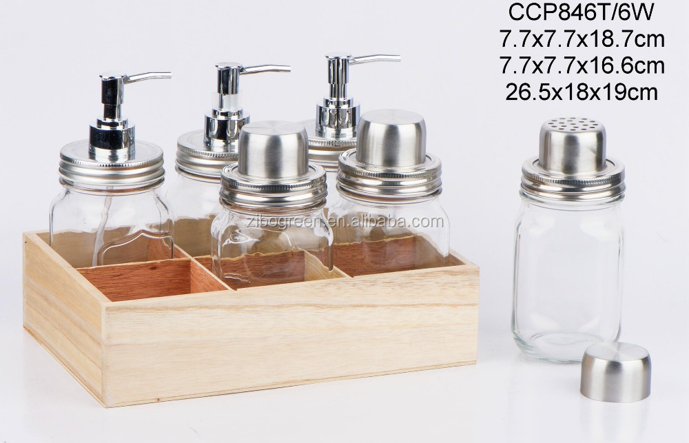 Glass jar for liquid soap with wooden box (CCP846T/6W)