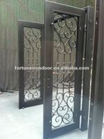 Wrought iron entry door tempered glass inserts