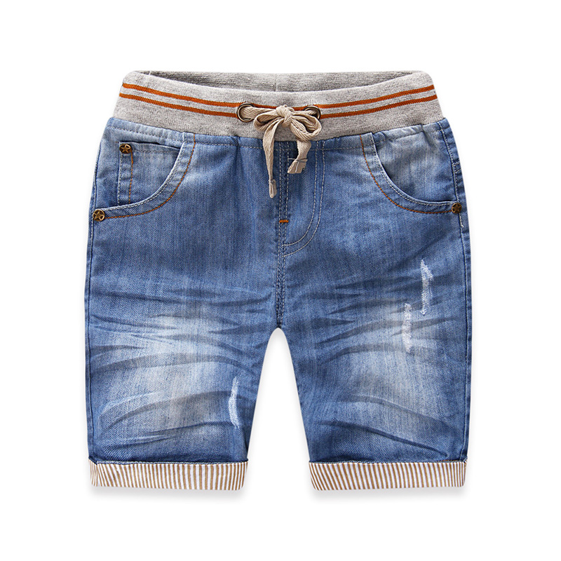 Male child shorts summer child 2015 children's clothing stripe knee-length pants baby jeans casual