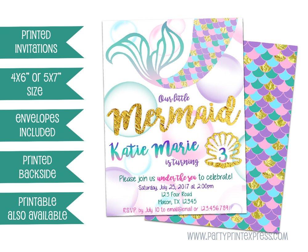 Mermaid Birthday Invitation Photo Under The Sea Gold Purple Girl ...