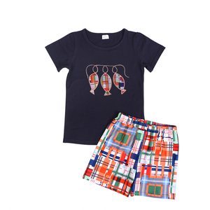 Monogram baby boy clothes Toddler boy beach outfit with shorts