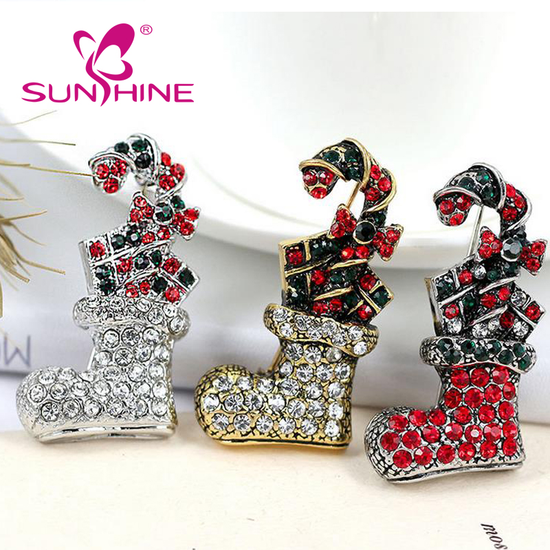 Latest Wholesale Bulk Design Accessories Vintage Holiday Christmas Santa Brooch Pin Gift