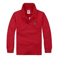 Juqian bulk quality colors cheap kids long sleeve polo shirt 2016