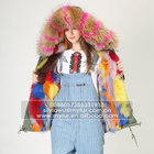 Myfur Fashion Women Parka Jacket with Real Fox Fur Lining and Natural Raccoon Fur Collar Hood