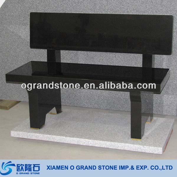 Chna Black Granite Stone Bench With Back Cheap Stone Garden Bench