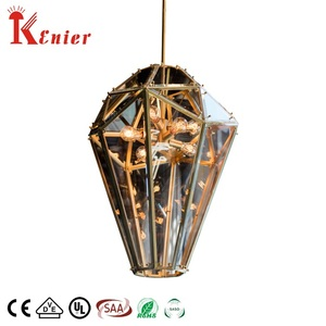 Hanging Linear Modern Chandeliers Dining Glass Lantern Pendant Light