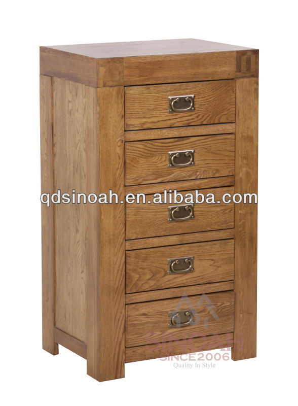 wooden tall boy 5 drawer chest oak bedroom furniture