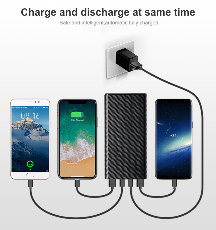 Shenzhen RoHS power banks 3A output quick charge QC 3.0 power bank 20000 mAh portable charger