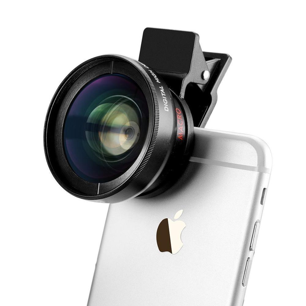 2in 1 Lens kiti 0.45 geniş açı makro iphone Lens 37mm