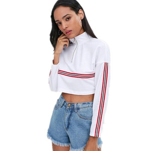 Wholesale Crop Top Pure Cotton Plain White Custom Crewneck Ladies Sweatshirt