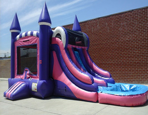 Girly Double Lane Inflatable Castle and Slide Combo Large Inflatable Wet Or Dry Slide Combo for sale
