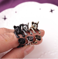 new design unique animal open ring Cute Cat Eat Fish Pets Resizable Ring Men women Couple Ring Jewelry for gift
