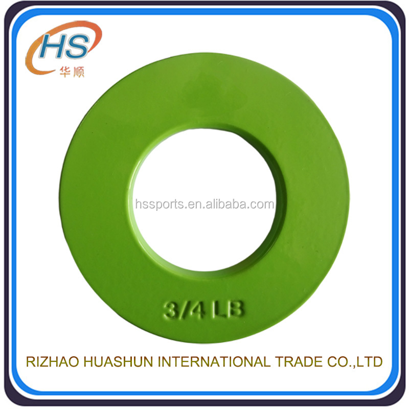 Rizhao high quality cast iron 0.75kg fractional weight plate for women