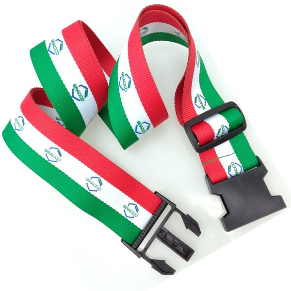 Custom adjustable travel luggage strap with logo