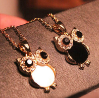 Hot Sell Women Owl Crystal Pendant Necklace Animal Long Sweater Chain Jewelry