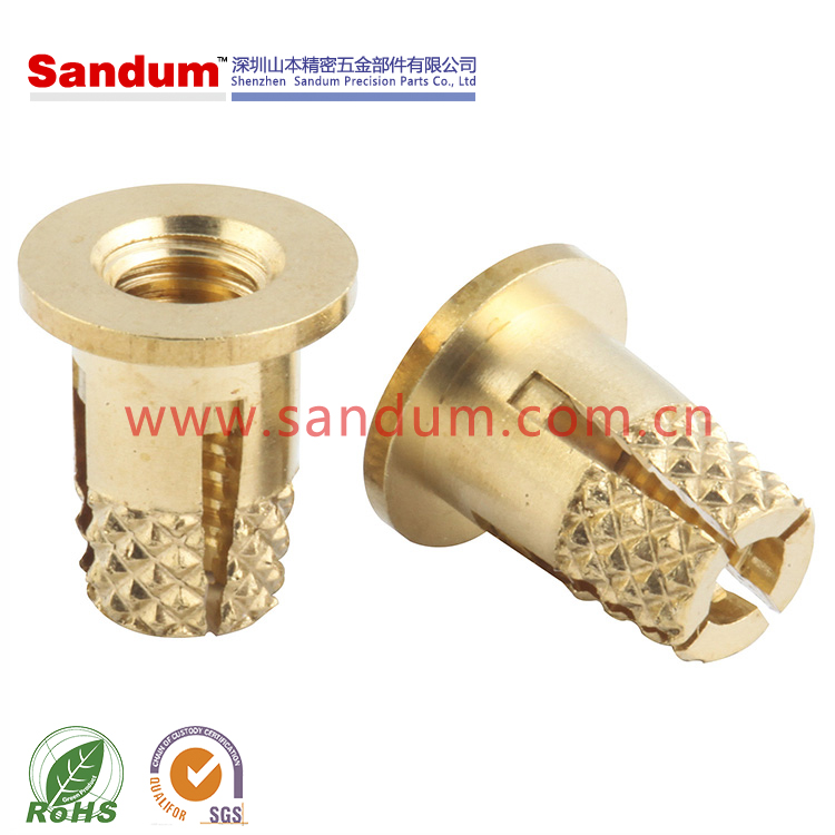 Brass press in knurled threaded insert NFPC PPB 2-56,4-40,6-32,10-32