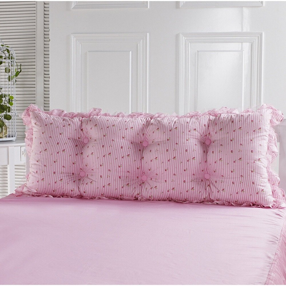Pink bed cushion / large backrest / sofa pillow / lumbar pillow / bed pillow / double bed cushions ( Size : 15072cm )