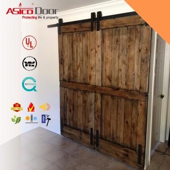 Two Horizontal Slats Rustic Simple Solid Wood Interior Sliding Barn