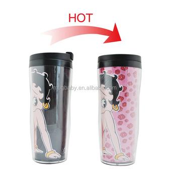 2017 New Paper Insert Thermal Coffee Mug Plastic Advertising Cup Starbucks