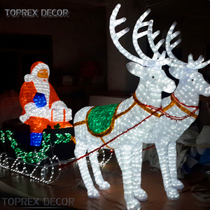 Large christmas deer sleighs 3D LED Elk motif lights