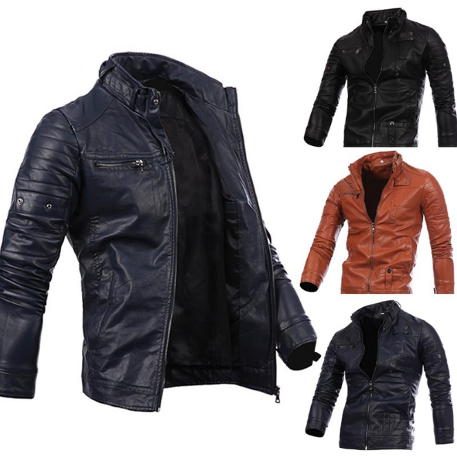 Free Shipping Multi Zipper Button Collar Men coat Motorcycle Leather Jacket
