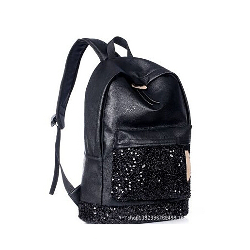 QG6231 New Designer Fashion Black Leather Sequins Backpacks Women Laptop Backpack School Bags for Teenagers Mochila Travel bag