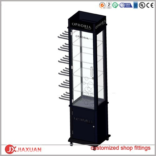 wood display tower exhibition showcase/jewellery display cabinet with LED