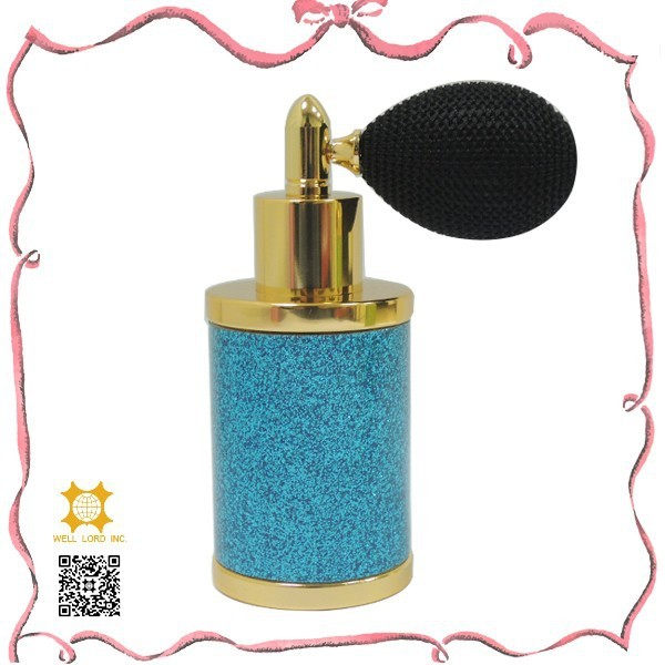 New arrival sky blue 30 ml glitter leather perfume refill bottle